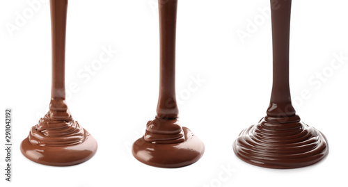 obraz lub plakat Pouring delicious molten chocolate on white background