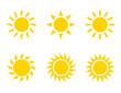 Sun flat style icon weather and sunshine set. Forecast logo symbol collection. Vector illustration image. Isolated on white background.