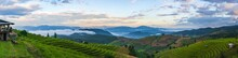 Panoramic Landscape View Of The Mountain And Rice Terraces In The Northern, Thailand
