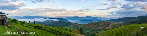 Autocollant pour porte Les champs de riz Panoramic landscape view of the mountain and rice terraces in the northern, Thailand