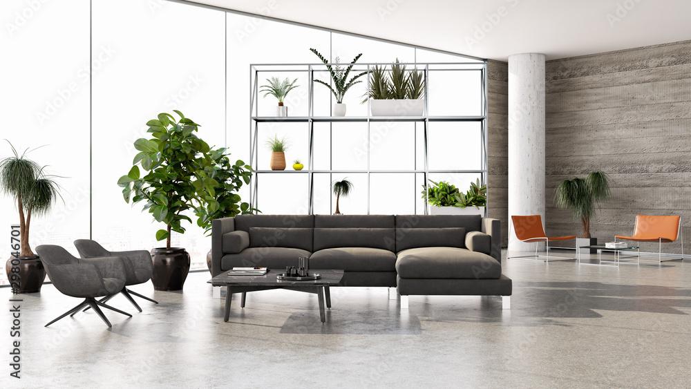 Obraz large luxury modern bright interiors room illustration 3D rendering fototapeta, plakat