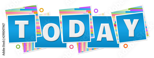Today Colorful Texture Blue Blocks Rings Fototapet
