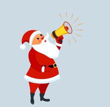 Cute Santa Claus With Megaphon...