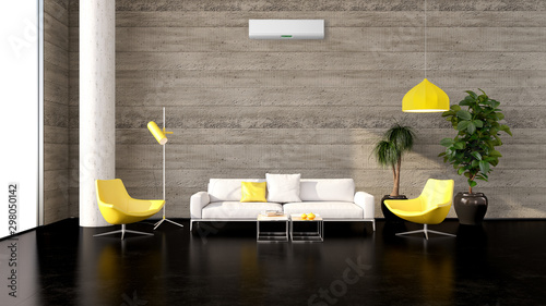 Fototapeta large luxury modern bright interiors with air conditioning illustration 3D rendering obraz
