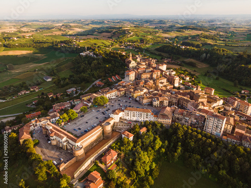 Drone aerial view of Moncalvo Monferrato, unesco world heritage Canvas Print
