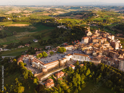 Drone aerial view of Moncalvo Monferrato, unesco world heritage Canvas Print
