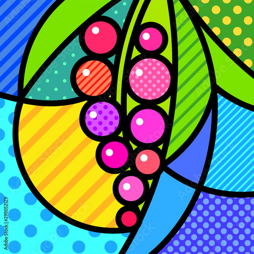 Red currant berries with leaf Pop Art Illustration for your design Canvas Print
