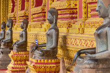 The Architecture And Ancient Buddha Image And Sculpture Detail Of (Hor Pha Keo Museum).Haw Pha Kaew Museum In Vientiane, Laos.