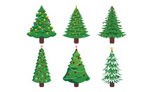 Set Of Christmas Trees Silhouette With Decorations, Vector Illustration Isolated On White Background, Template For Design, Greeting Card, Invitation.