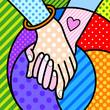 couple holding hands pop art modern illustration for your design