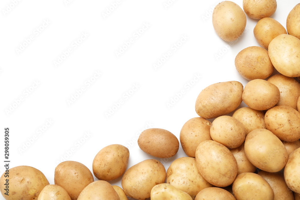 Fototapety, obrazy: Raw fresh organic potatoes on white background, top view