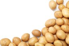 Raw Fresh Organic Potatoes On White Background, Top View