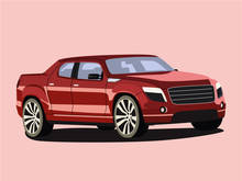 Pickup Red Realistic Vector Illustration Isolated