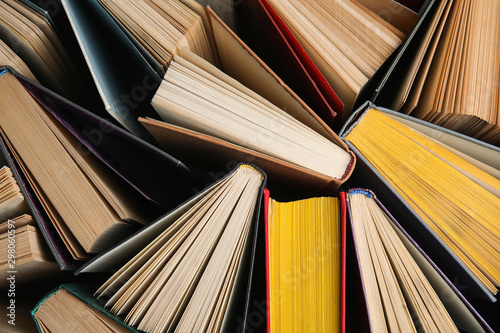 Fotografie, Tablou Stack of hardcover books as background, top view