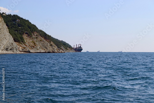 Photo the ship ran aground in a storm on the Black Sea