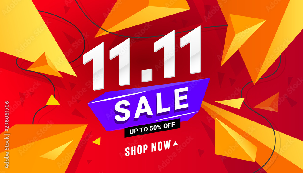 Fototapety, obrazy: 11.11 sale banner template design with triangular polygonal shapes on a red background for special offer, sale and discount