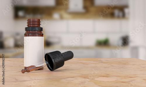 Cuadros en Lienzo  Dropper bottle with pipette on kitchen Background