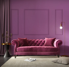 Velvet Red Classic Sofa In Lux...