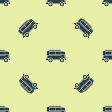 Blue Retro Minivan Icon Isolated Seamless Pattern On Yellow Background. Old Retro Classic Traveling Van. Vector Illustration