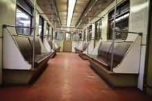 Subway Car With Empty Seats. E...