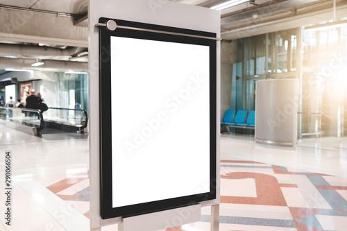 Fotomural  blank advertising billboard at airport,Mock up Poster media template Ads display