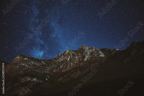 Astrophotography. Milky way on mountain background Wallpaper Mural