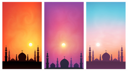 Dark mosque silhouette on colorful sunset sky background. Set of vector poster backdrops