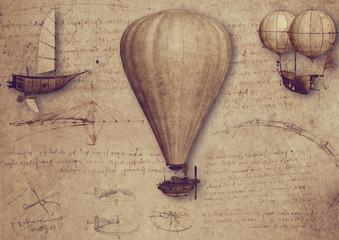 Vintage Luftfahrt Zeichnungen Schriften Leonardo da Vinci Ballon Steampunk Fa...
