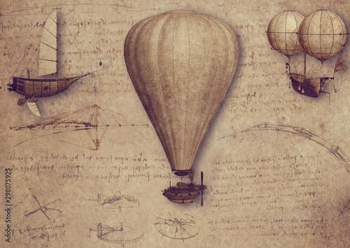Obraz Vintage Luftfahrt Zeichnungen Schriften Leonardo da Vinci Ballon Steampunk Fantasie Collage - fototapety do salonu