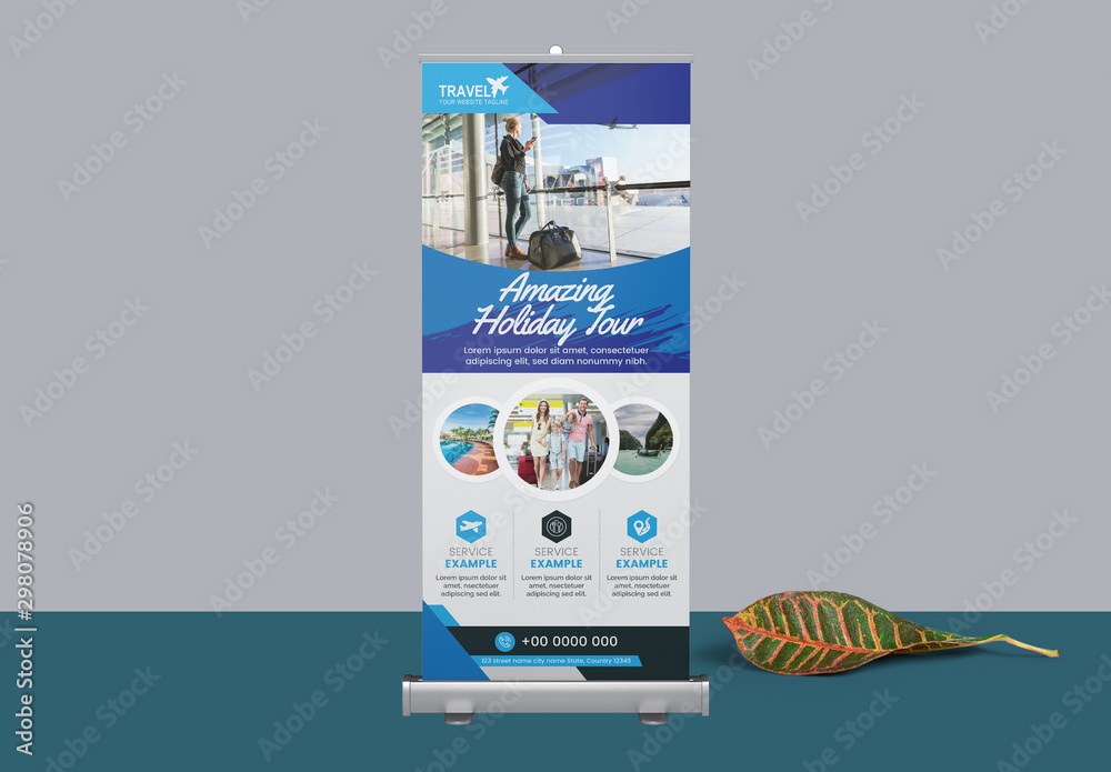 Fototapety, obrazy: Blue Roll Up Banner Layout