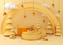 Display Background For Product Presentation, Christmas Tree 3d Rendering Illustration.