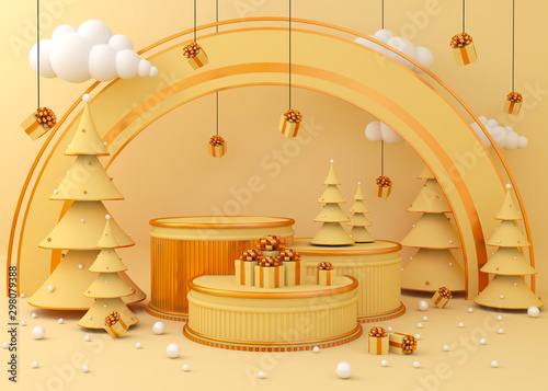 Fotomural  Display background for product presentation, Christmas tree 3d rendering illustration