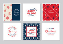 Merry Christmas Square Cards Set With Santa Claus, Snowflakes And Trees. Doodles And Sketches Vector Christmas Illustrations.