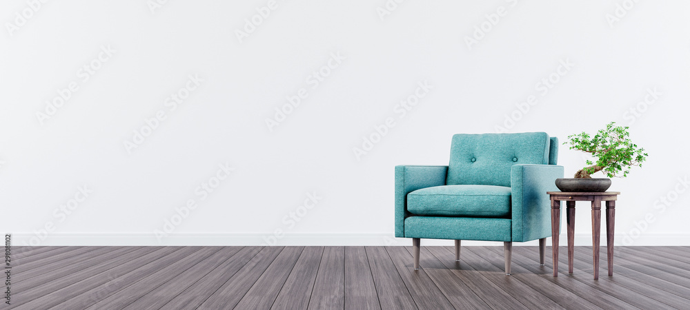 Fototapety, obrazy: Living room interior design with green velvet armchair and bonsai tree with white wall and copy space on left 3d render 3d illustration
