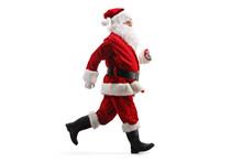 Santa Claus Running Fast