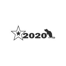 Vector Christmas Logo 2020, Rat Silhouette And Christmas Star Close-up Isolated