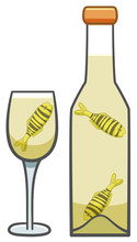 Golden Trevally Fishes Inside Of Bottle And Glass Of White Wine