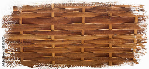 Straw wicker fence close-up.Background for designers. Wallpaper Mural