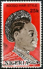NIGERIA - 1987: shows Agogo hair style, 1987