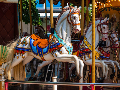 Old carousel horses in Lignano, Italy Tablou Canvas