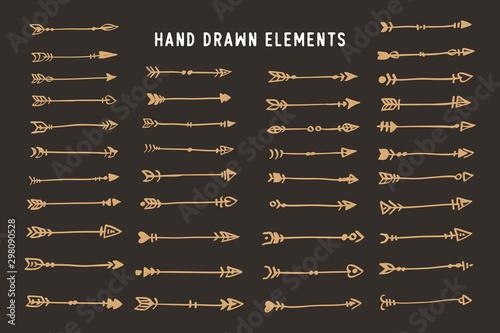 Foto auf AluDibond Boho-Stil Hand drawn ethnic arrows boho style