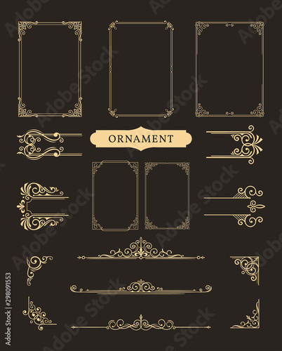 Obraz Classic ornament frame, Vintage border illustration - fototapety do salonu