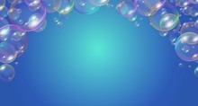 Festive Soap Bubbles Frame Festive Design Vector Illustration. Template With Soap Balls With Glares, Highlights And Gradient On Blue Background. Place For Text
