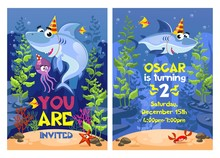 Shark Party Invitation With St...