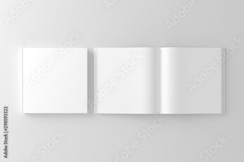 Square Hardcover Book White Blank Mockup Fototapet