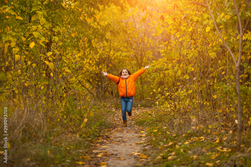 Fototapety, obrazy: adorable happy little girl with autumn leaves