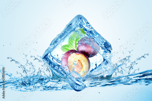 Photo  creative cool ice cube chilled fruit for cold storage