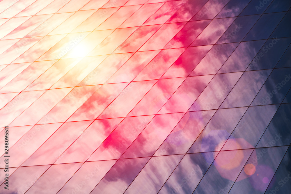 Fototapety, obrazy: Web banner Modern glass architecture with reflection of red and blue sunset sky. Dramatic bright color. Vintage style background.