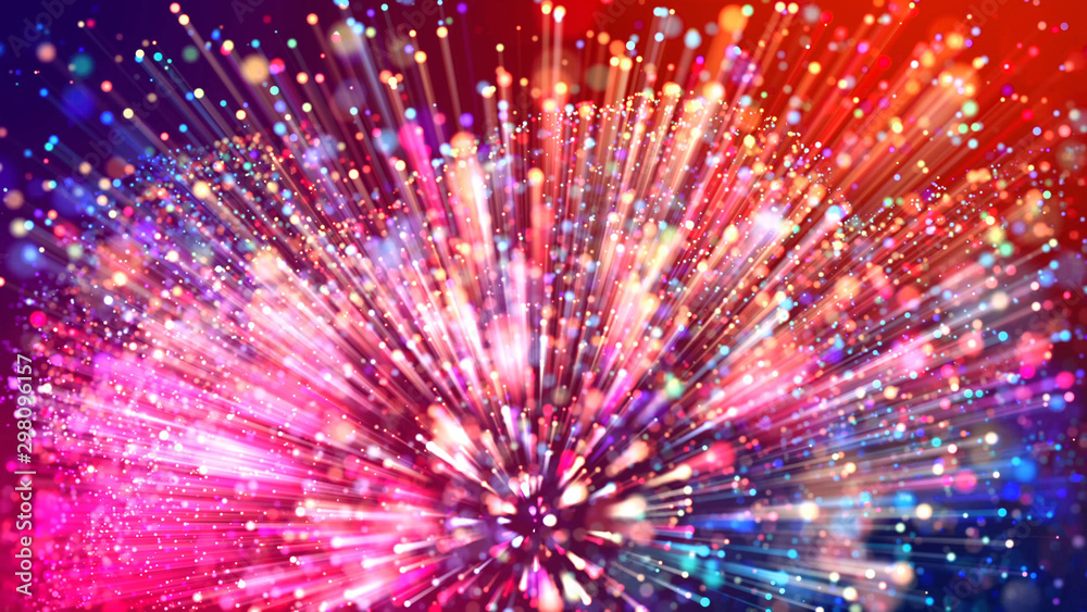 Fototapety, obrazy: Abstract explosion of multicolored shiny particles or light rays like laser show. 3d render abstract beautiful background with light rays colorful glowing particles, depth of field, bokeh.