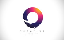 O Feather Letter Logo Icon Des...